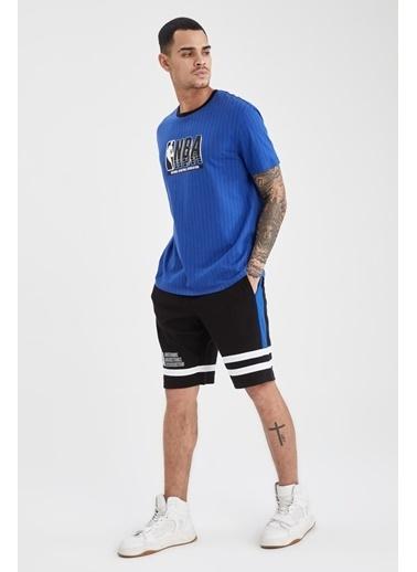 DeFacto Regular Fit NBA Lisanslı Bisiklet Yaka T-shirt Mavi